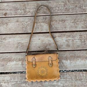 Vintage leather embossed stamped purse bag